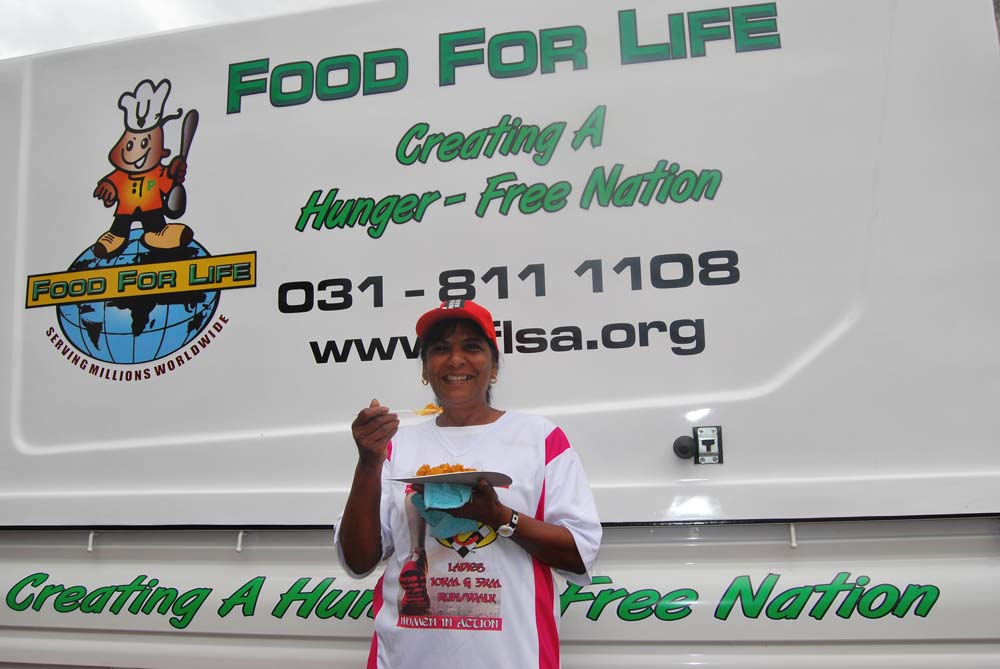 Friendly Mrs Theresa Govender from Chatsworth has participated in the Women's Day 5km challenge for the last five years, made it a point enjoy a meal.
